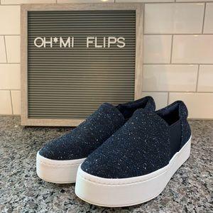 Vince Warren Tweed Platform Slip On Sneaker